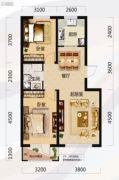 唐轩北廷2室2厅1卫88平方米户型图