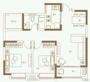 利港银河广场2室2厅1卫88平方米户型图