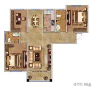 兰亭御城3室2厅2卫128平方米户型图