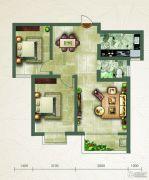绿朗时光2室2厅1卫86平方米户型图