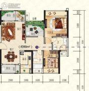 星海湾华庭3室2厅2卫90平方米户型图