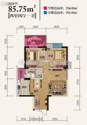 美宁万象新天2室2厅1卫85平方米户型图