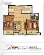 南通江景国际2室2厅1卫104平方米户型图