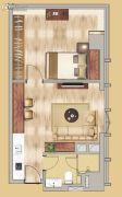 中鼎名汇1室1厅1卫68平方米户型图