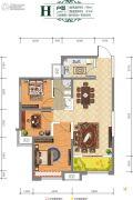 城市・锦上3室2厅1卫99平方米户型图