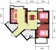中天优诗美地2室2厅1卫116平方米户型图