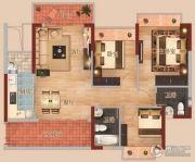 中恒海晖城3室2厅2卫88平方米户型图