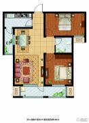 东胜紫御府2室2厅1卫89平方米户型图