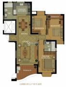 名城国际3室2厅2卫136平方米户型图