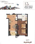 雁鸣湖畔1室1厅1卫83平方米户型图