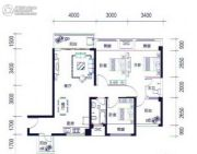 昌泰水立方3室2厅2卫105平方米户型图