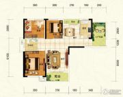 中建宜城春晓3室2厅1卫108平方米户型图