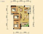 祥东金泰城3室2厅2卫98平方米户型图