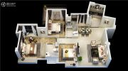 融信双杭城3室2厅2卫110平方米户型图