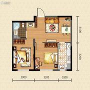 新湖青蓝国际2室2厅1卫66平方米户型图