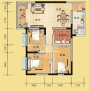 翰林国际3室2厅1卫112平方米户型图