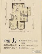 御景龙庭3室2厅2卫107平方米户型图