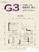 金科米兰大道2室2厅1卫60平方米户型图