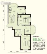 龙溪第2室1厅1卫96平方米户型图