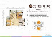 北大资源江山名门2室2厅1卫85平方米户型图