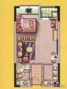 达观国际1室2厅1卫0平方米户型图