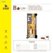 天佑城1室1厅1卫29平方米户型图