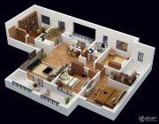 朗诗�园4室2厅2卫165平方米户型图