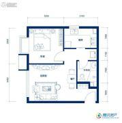 海岸国际1室2厅1卫53平方米户型图