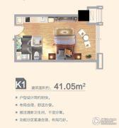 合肥万达文化旅游城1室1厅1卫41平方米户型图