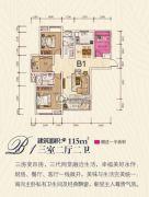 云天梦境3室2厅2卫115平方米户型图