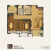 四季金辉2室2厅1卫108平方米户型图