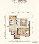 风憬天下3室2厅2卫114平方米户型图