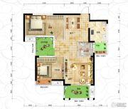 恒信・中央公园2室2厅1卫93平方米户型图