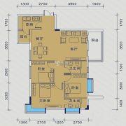 御�Z华庭3室2厅1卫87平方米户型图