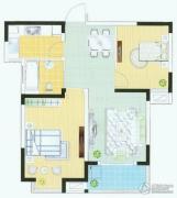 富城湾2室2厅1卫75平方米户型图
