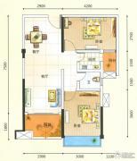 领秀一方2室2厅1卫73平方米户型图