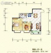 岳塘映象2室1厅1卫78平方米户型图