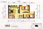 水岸东城2室2厅1卫61平方米户型图