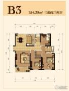 仁恒江湾城3室2厅2卫154平方米户型图