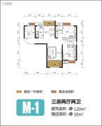 融侨悦府3室2厅2卫120平方米户型图