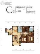 融科瀚棠河东3室2厅2卫128平方米户型图