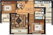 长申玉2室2厅1卫93平方米户型图