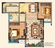 明发江湾新城2室2厅1卫75平方米户型图