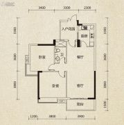 翡翠绿洲2室2厅1卫91平方米户型图