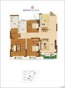 郑开橄榄城3室2厅2卫134平方米户型图