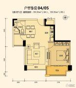 奥园外滩1室2厅1卫59平方米户型图