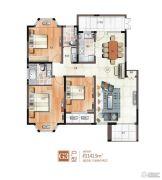 绿地泰晤士新城3室2厅2卫141平方米户型图