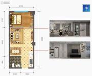 时光城・云立方1室2厅1卫56--59平方米户型图