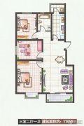 实创花园3室2厅1卫118平方米户型图