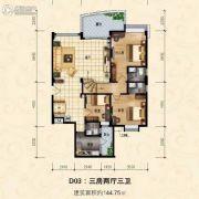 恒晖苑3室2厅3卫140--145平方米户型图